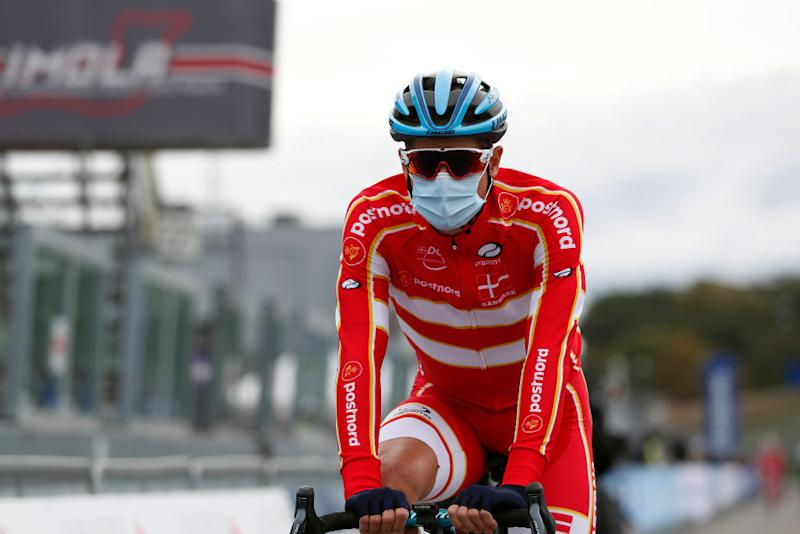 Jakob Fuglsang (Denmark) heads to the start of the men's race at Worlds
