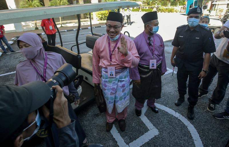 Parti Pejuang Tanah Air's (Pejuang) Amir Khusyairi Mohamad Tanusi arrives at the nomination centre in Tanjung Malim August 15, 2020.