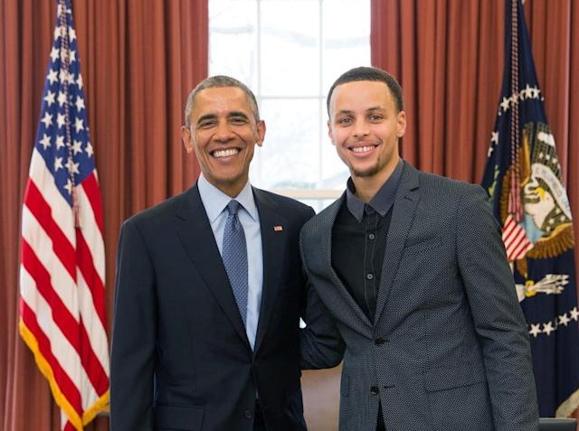 Former President Barack Obama with Warriors star Stephen Curry. (Official White House Photo/Pete Souza)