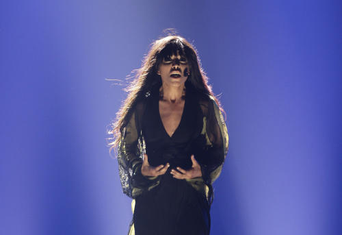 Swedish Loreen performs during the final show of the 2012 Eurovision Song Contest at the Baku Crystal Hall in Baku, Sunday, May 27, 2012. (AP Photo/Sergey Ponomarev)