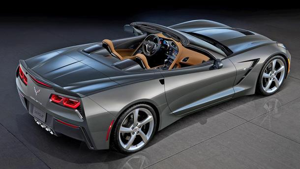 The full Chevy Corvette Stingray convertible comes into view