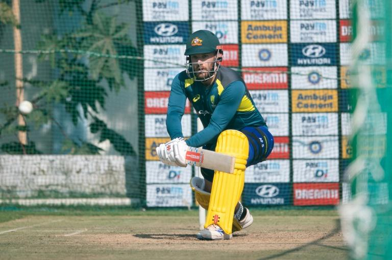 Australian skipper Aaron Finch during a net session ahead of the second ODI against India  at Saurashtra Cricket Stadium in Rajkot
