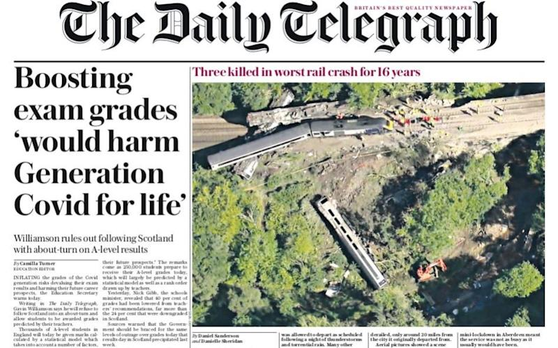 The effect of coronavirus on exams leads the Daily Telegraph this morning