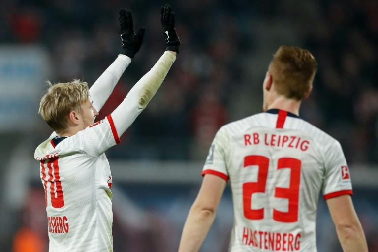Leipzig's Swedish midfielder Emil Forsberg (L) celebrates scoring with a superbly struck free-kick against Cologne on Saturday