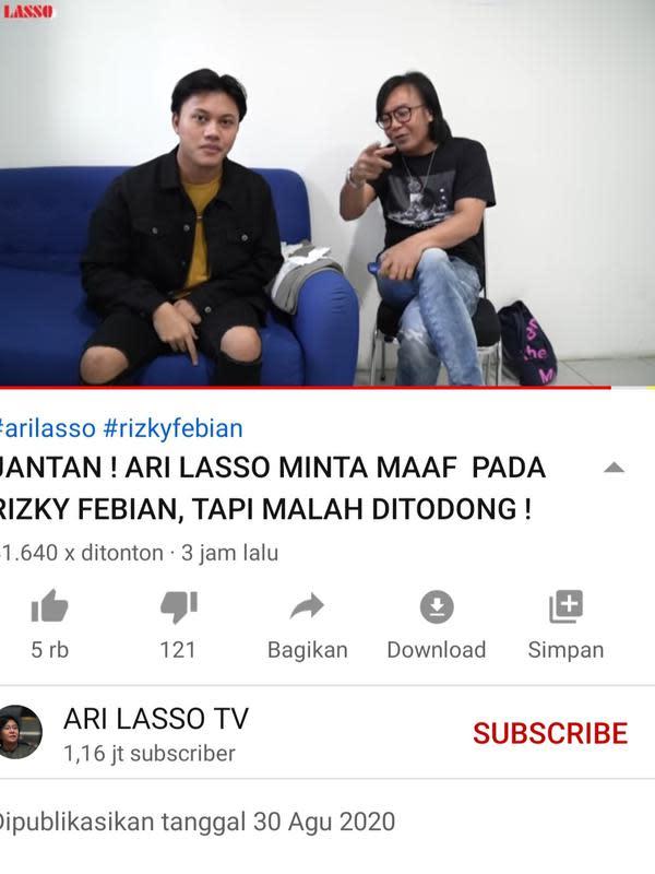 Unggahan Ari Lasso. (Foto: YouTube Ari Lasso TV)