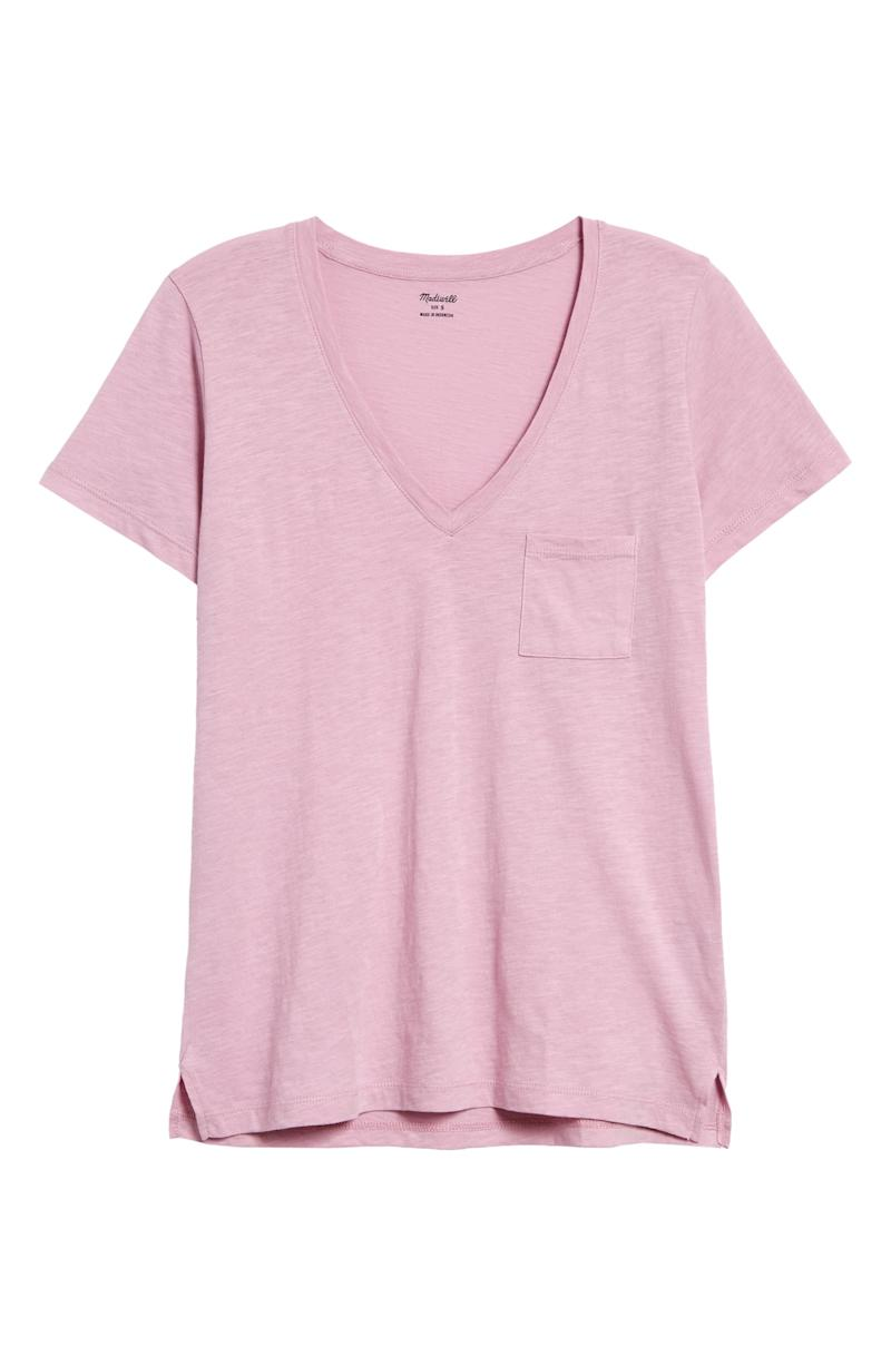 Whisper Cotton V-Neck Pocket Tee in Lavender Mist
