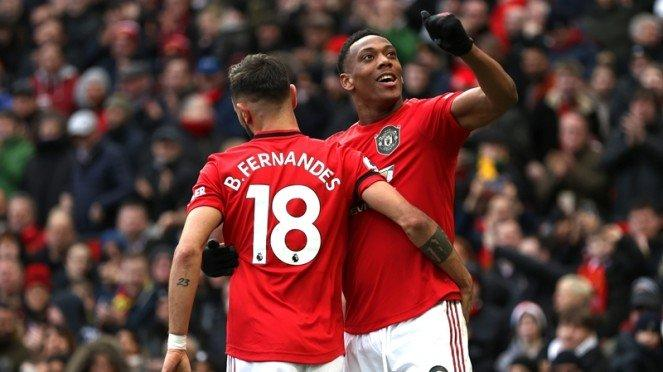 Pemain Manchester United, Bruno Fernandes dan Anthony Martial
