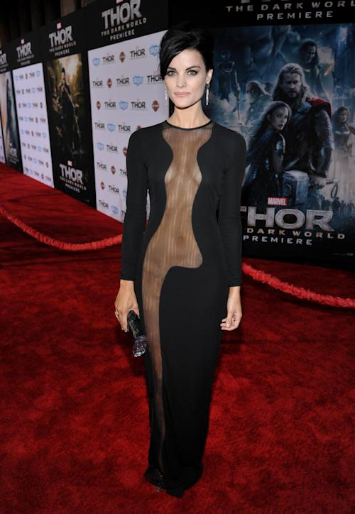 "FILE - This Nov. 4, 2013 file photo shows actress Jaimie Alexander at the U.S. premiere of ""Thor: The Dark World"" in Los Angeles. Alexander wore a black Azzaro Couture dress expanding the see-through effect to the midriff and upper regions. (Photo by John Shearer/Invision/AP, File)"