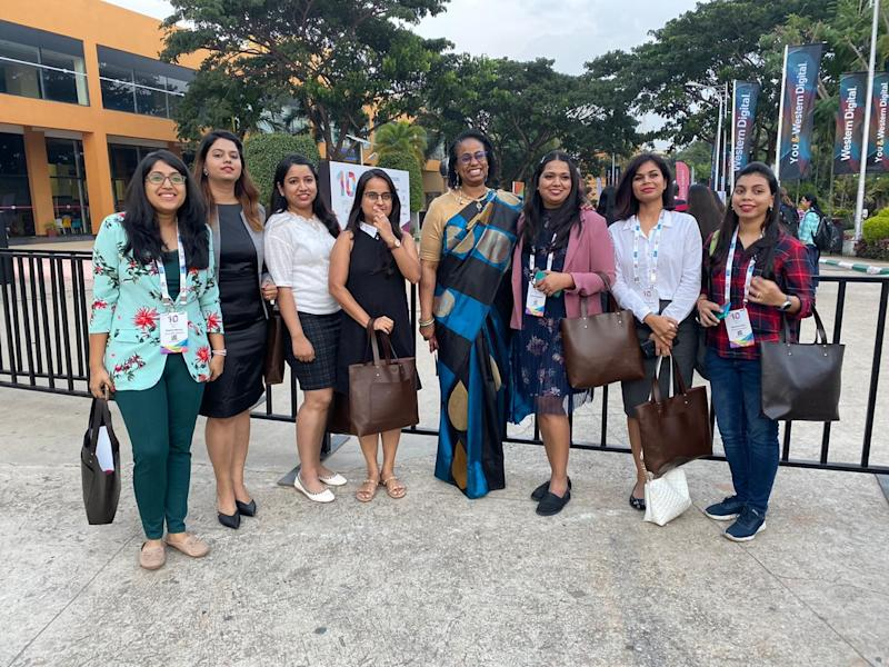 Brenda Darden Wilkerson (middle) with some of the attendees at the conference in Bengaluru on November 6, 2019. (Photo from Twitter)
