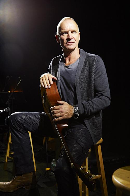 "In this Sept. 26, 2013, photo, Sting poses for a portrait at The Public Theater in promotion of his new album, ""The Last Ship,"" in New York. (Photo by Dan Hallman/Invision/AP)"
