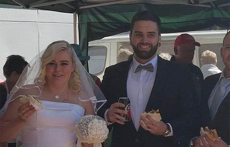 Chantelle and Jordan Wilson celebrated their wedding reception at Bunnings.