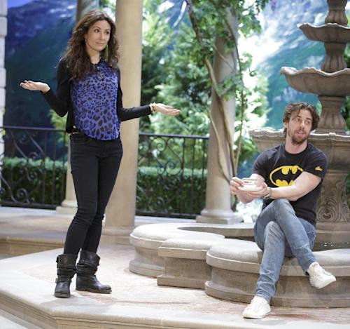 "This image released by NBC shows actors Laura Benanti, who portrays Baroness Elsa Schrader, left, and Christian Borle, who portrays Max Detweiler, during a rehearsal for ""The Sound of Music Live!, in Bethpage, N.Y. The live production airs on Dec. 5 at 8 p.m. EST. (AP Photo/NBC, Paul Drinkwater)"