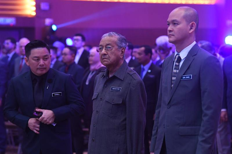 Prime Minister Tun Dr Mahathir Mohamad (centre) attends the launch of National Automotive Policy 2020 at Menara Miti, Kuala Lumpur February 21, 2020. — Bernama pic