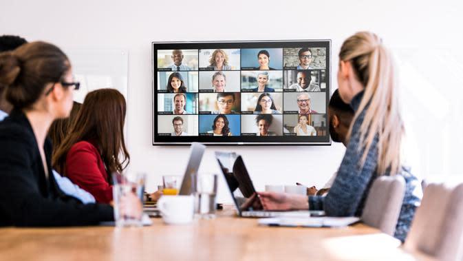 Ilustrasi pertemuan virtual dengan menggunakan aplikasi Zoom. Kredit: Zoom
