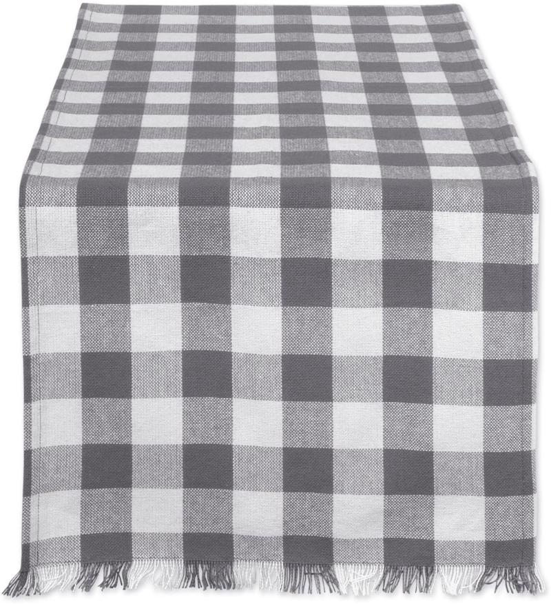 DII 100% Cotton, Machine Washable, Heavyweight Woven Fringed Table Runner for Everyday Use, Fall & Holidays. Image via Amazon.