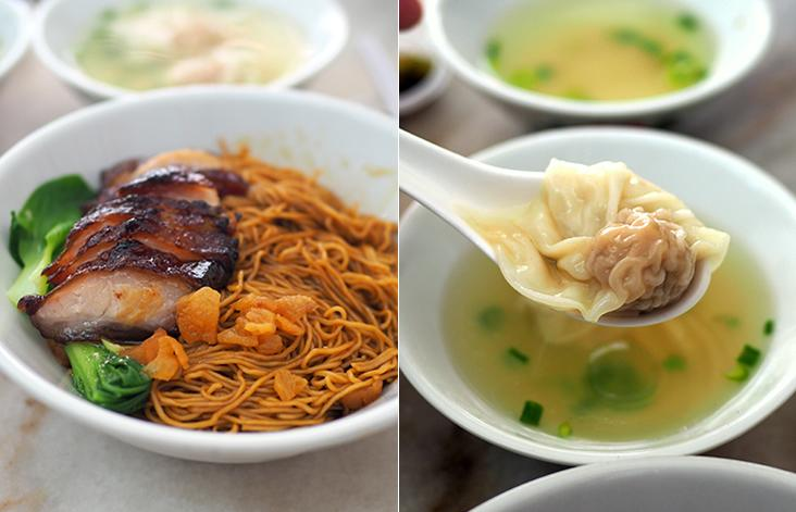Your 'char siew wantan' noodles has tender 'char siew' with fried lard croutons for a satisfying meal (left). Plump 'wantans' stuffed with minced meat have a silky skin (right)
