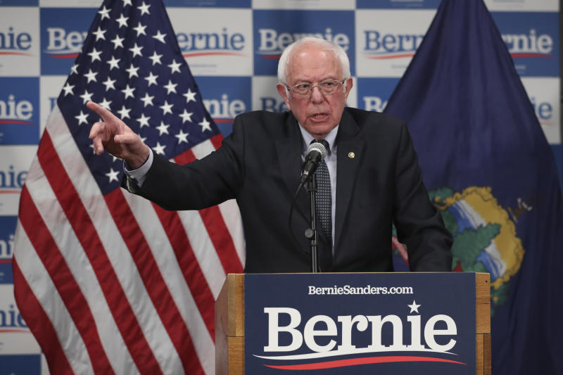 Democratic presidential candidate, Sen. Bernie Sanders, I-Vt., speaks to reporters about coronavirus Thursday March 12, 2020, in Burlington, Vt. (AP Photo/Charles Krupa)