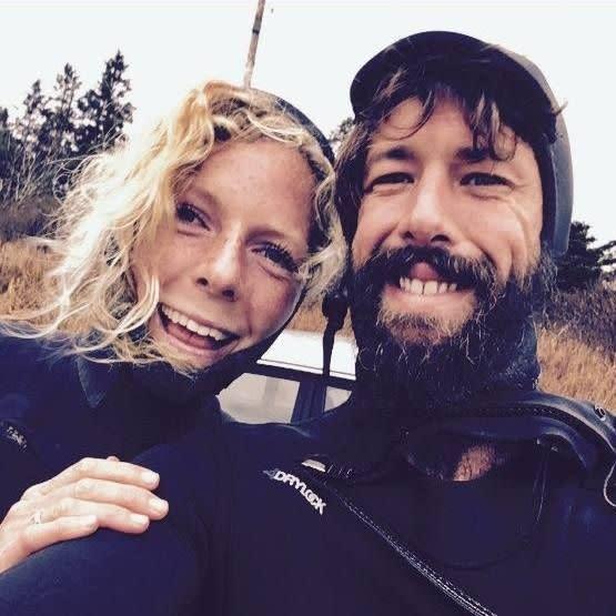 Aussie surfer Sean McKinnon pictured with his fiancée Bianca Buckley .