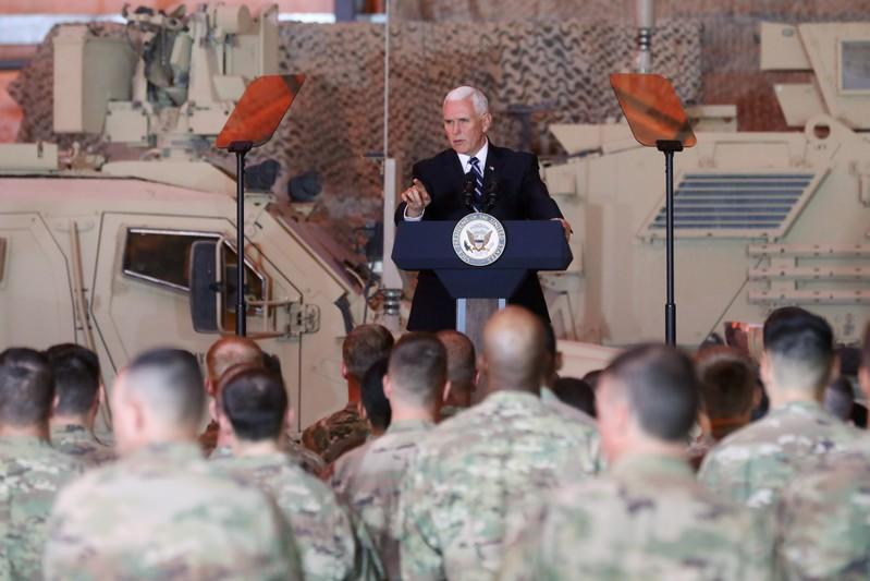 U.S. Vice President Pence delivers remarks to U.S. troops at Al Asad Air Base, Iraq