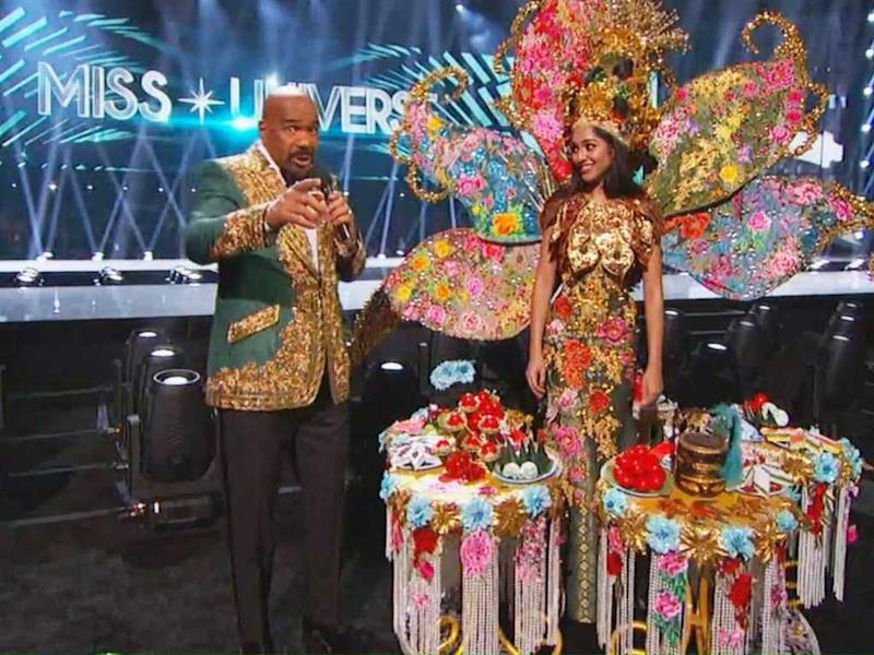 Steve Harvey seen here with Miss Universe Malaysia Shweta Sekhon.
