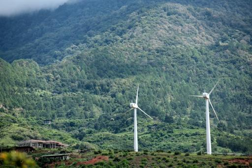 Bhutan's first pair of wind turbines in the village of Rubesa symbolise the Himalayan kingdom's achievement as the world's only carbon negative country
