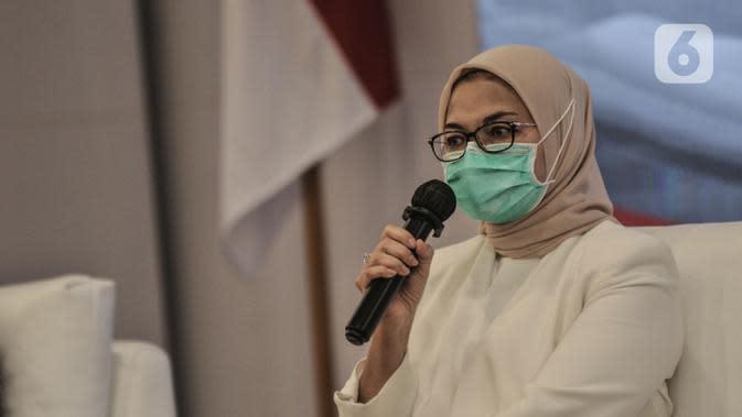 Kepala BPOM Penny Lukito saat konferensi pers terkait hasil uji klinis obat untuk Covid-19 dari UNAIR di Kantor BPOM, Jakarta, Rabu (19/8/2020). Penny Lukito menyatakan hasil uji klinis tahap tiga obat Covid-19 dari Universitas Airlangga (UNAIR) belum valid. (merdeka.com/Iqbal S. Nugroho)
