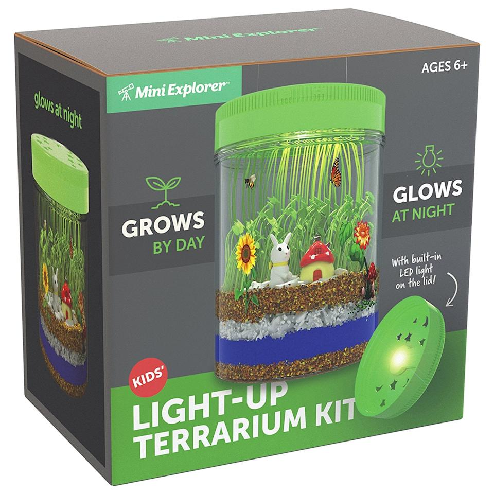 """<p>This <a rel=""""nofollow"""" href=""""https://www.popsugar.com/buy/Mini%20Explorer%20Light-up%20Terrarium%20Kit%20for%20Kids%20with%20LED%20Light%20on%20Lid-329247?p_name=Mini%20Explorer%20Light-up%20Terrarium%20Kit%20for%20Kids%20with%20LED%20Light%20on%20Lid&retailer=amazon.com&price=25&evar1=moms%3Aus&evar9=25967683&evar98=https%3A%2F%2Fwww.popsugar.com%2Ffamily%2Fphoto-gallery%2F25967683%2Fimage%2F44867405%2FMini-Explorer-Light-up-Terrarium-Kit-Kids-LED-Light-Lid&list1=holiday%2Cgift%20guide%2Cparenting%20gift%20guide%2Ckid%20shopping%2Choliday%20living%2Choliday%20for%20kids&prop13=api&pdata=1"""" rel=""""nofollow"""">Mini Explorer Light-up Terrarium Kit for Kids with LED Light on Lid</a> ($25) is so cool, we kind of want one for ourselves. It teaches kids about biology and growing plants by day, and they can see their hard work pay off at night.</p>"""
