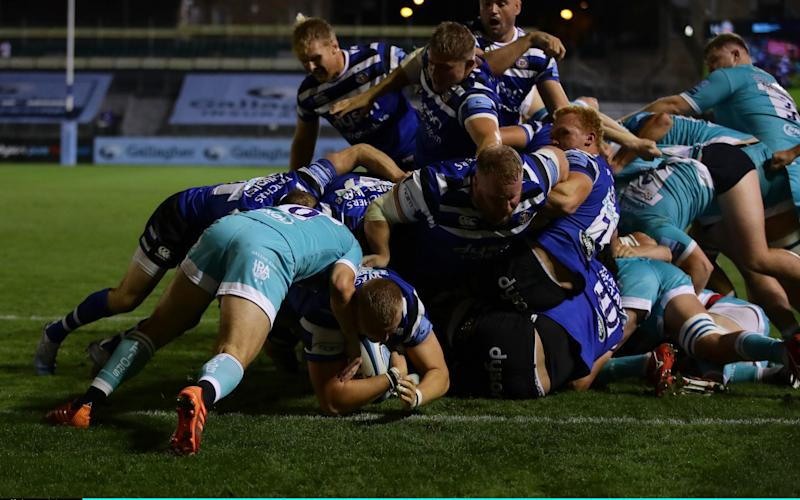 Jack Walker of Bath goes over to score the third try during the Gallagher Premiership Rugby match between Bath Rugby and Worcester Warriors at The Recreation Ground on September 09, 2020 in Bath, England. - Richard Heathcote/Getty Images Europe