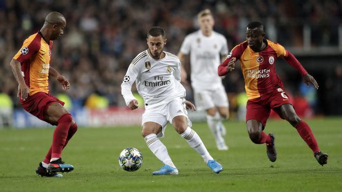Pemain Real Madrid, Eden Hazard. (AP Photo/Bernat Armangue)
