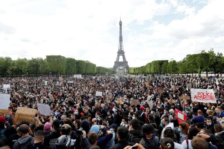 "The scene from Paris on June 6, 2020, part of ""Black Lives Matter"" worldwide protests against racism and police brutality"