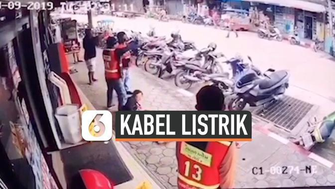VIDEO: Detik-Detik Wanita Terkena Kabel Listrik 22.000 Volt