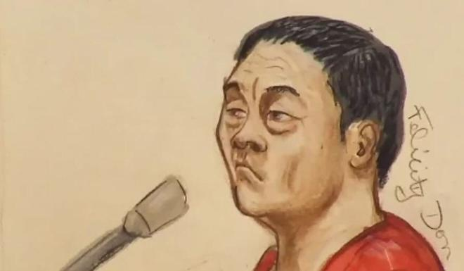 A 2015 courtroom sketch of Zhao Li. Illustration: Felicity Don via Reuters
