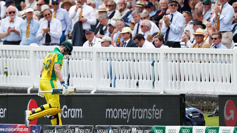 England fans let Steve Smith have it. (Photo by ADRIAN DENNIS/AFP/Getty Images)