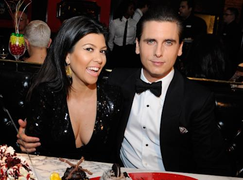 Kourtney Kardashian and Scott Disick celebrate New Year's Eve at the Sugar Factory American Brasserie at the Paris Las Vegas on December 31, 2011 -- WireImage