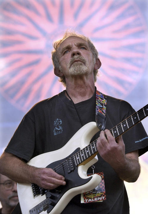 "FILE - In this June 5, 2004 file photo, singer-songwriter J.J. Cale plays during the Eric Clapton Crossroads Guitar Festival in Dallas, Texas. Cale, whose best-known songs became hits for Eric Clapton with ""After Midnight"" and Lynyrd Skynyrd with ""Call Me the Breeze,"" has died. He was 74. Cale's manager Mike Kappus said the architect of the Tulsa Sound died Friday, July 26, 2013 of a heart attack at Scripps Hospital in La Jolla, Calif. (AP Photo/Tony Gutierrez, File)"