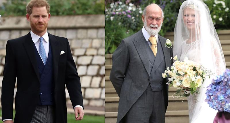 Harry arrives at Lady Gabriella Windsor's wedding and (right) the bride with her father Prince Michael of Kent [Photos: PA/Getty]