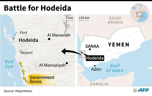 Map of Yemen locating the port of Hodeida, which governmental forces are trying to retake from Huthi rebels