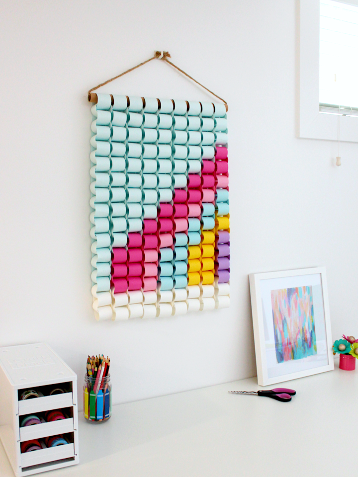 """<p>This project has its roots in a simple paper chain crafting notion you might remember from growing up. But it's every inch a sophisticated take on the concept, rendered as a color-blocked wallhanging for grownups to make and enjoy.</p><p><em><a href=""""https://www.whitehousecrafts.net/post/diy-paper-chain-rainbow-in-the-sky-wall-hanging"""" target=""""_blank"""">Get the tutorial from White House Crafts »</a></em></p>"""