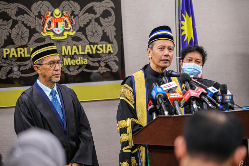 Azhar Azizan Harun's appointment today took place amidst a shouting match between Opposition and government MPs, after he was sworn in without a voting session by lawmakers, similar to the process undertaken to remove incumbent Speaker Tan Sri Mohd Ariff Md Yusof. — Picture by Hari Anggara