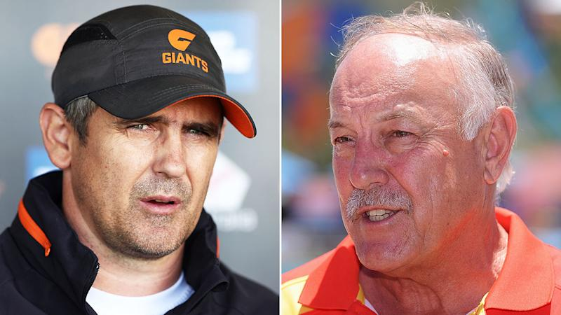 Giants AFL coach Leon Cameron, left, wasn't pleased with Malcolm Blight, right, and his commentary on star player Toby Greene.