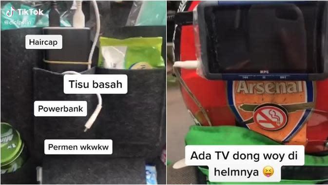 Viral Ojek Online Bintang Lima, Ada Fasilitas Televisi Mini. (Sumber: Tiktok/cicipelin)