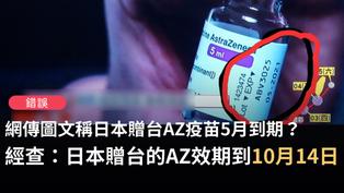 【錯誤】網傳圖文稱「曰本送的AZ疫苗是2021年5月到期」?