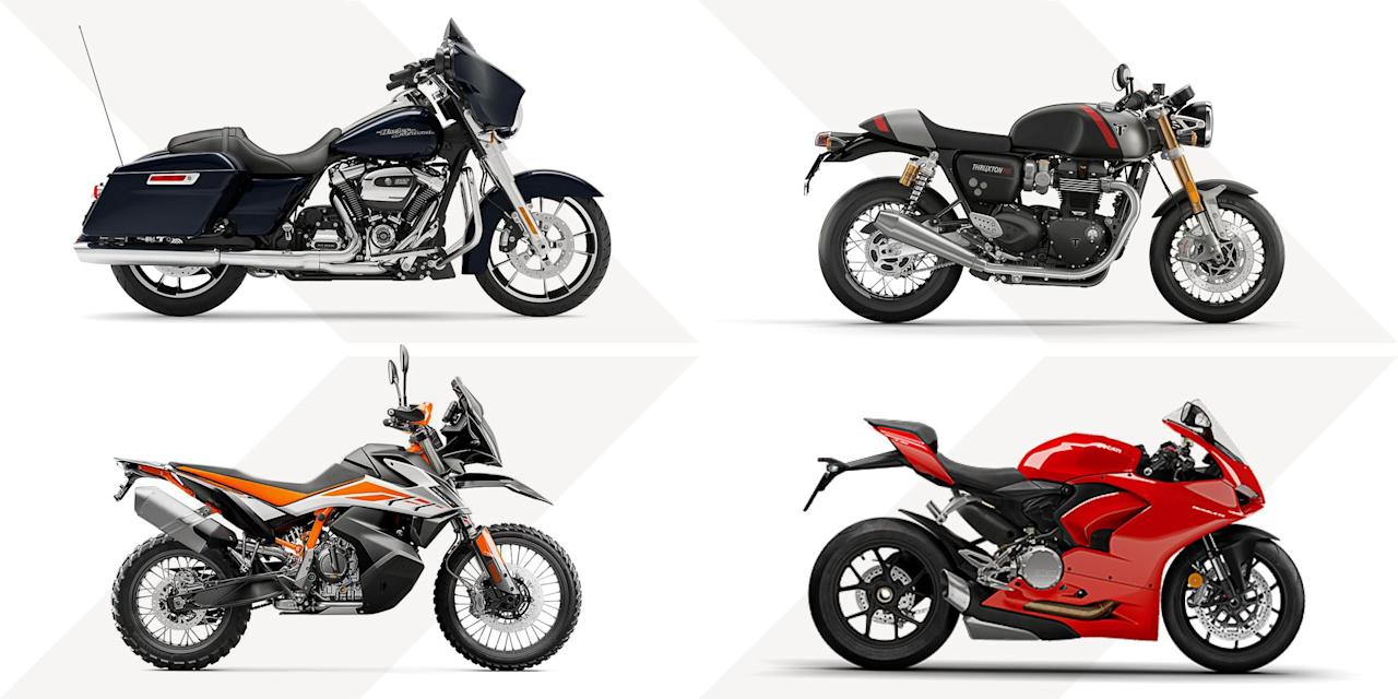 <p><em>Editor's Note: A motorcycle is a good way to travel without risking exposing yourself or others to</em><em> </em><em>COVID-19. But riding is more dangerous than driving, which means every time we put on our leathers, we might need help from</em><em> a doctor or EMT. Before you ride, check whether your area's hospitals have recovered from recent </em><em>outbreaks and can save you after a tank-slapper. </em><em>  </em><br><br>The last few years have been an unusually good time to buy a motorcycle. Starting after the 2008 recession, manufacturers increased their efforts to earn new customers and replace the riders who are aging out of ownership. That economic pressure has resulted in affordable, practical, and wonderfully strange new designs. In 2020, that means high-tech safety features such as traction control and even clothing that deploys personal airbags. It means keyless start/stop, transmissions that can predict and prevent you from stalling, and enough options to make choosing an electric motorcycle kind of difficult. Read on for advice on buying your own and reviews of the best rigs out there today.</p><p><strong>Methodology</strong></p><p>Assuming that brand loyalty isn't a factor, the most efficient path to finding the right motorcycle is to start with where and how you will be riding. This is why almost every manufacturer produces at least one model of each genre of bike. Ducati, for example, has an off-road capable city motorcycle (the Scrambler), a race-grade superbike (Panigale V4R), a cruiser (Diavel), an ergonomic adventure bike (Multistrada), and even an electric mountain bike (E-MTB). Once you have a sense of which type of bike will best serve your uses, you can start comparing within that type, which is what we've done here.</p><p><strong>How Fast?</strong></p><p>A motorcycle's acceleration and top speed are often considered in terms of displacement, or cubic centimeters (250 cc, 600 cc, 1,000 cc). This refers to the volume of air and fuel a