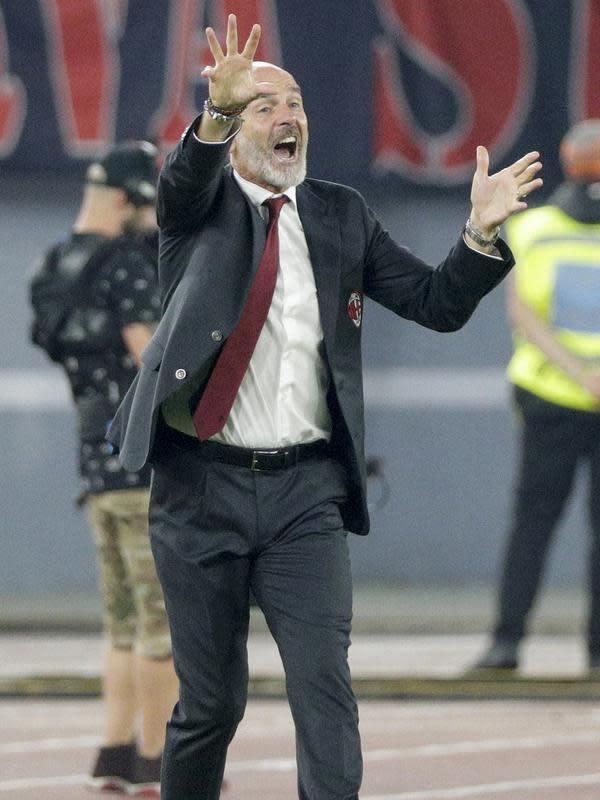 Pelatih AC Milan, Stefano Pioli (AP Photo/Andrew Medichini)