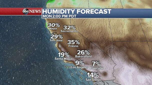 PHOTO: A weather map of Southern California, where temperatures are forecast to hit dangerous triple digits levels on Monday. (ABC News)