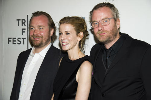 "Tom Berninger, from left, Carin Besser and Matt Berninger attend the premiere of ""Mistaken for Strangers"" during the opening night of the 2013 Tribeca Film Festival on Wednesday April 17, 2013 in New York. (Photo by Charles Sykes/Invision/AP)"