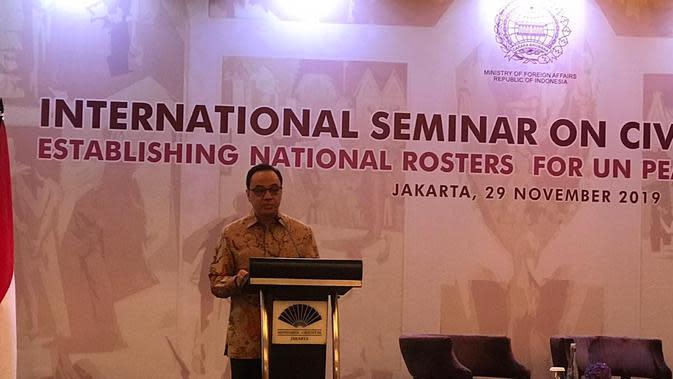 Pelaksana Tugas Juru Bicara Kementerian Luar Negeri RI, Teuku Faizasyah (Benedikta Miranti / Liputan6.com)