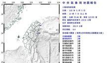 東北部海域規模6.4地震 最大震度花蓮2級