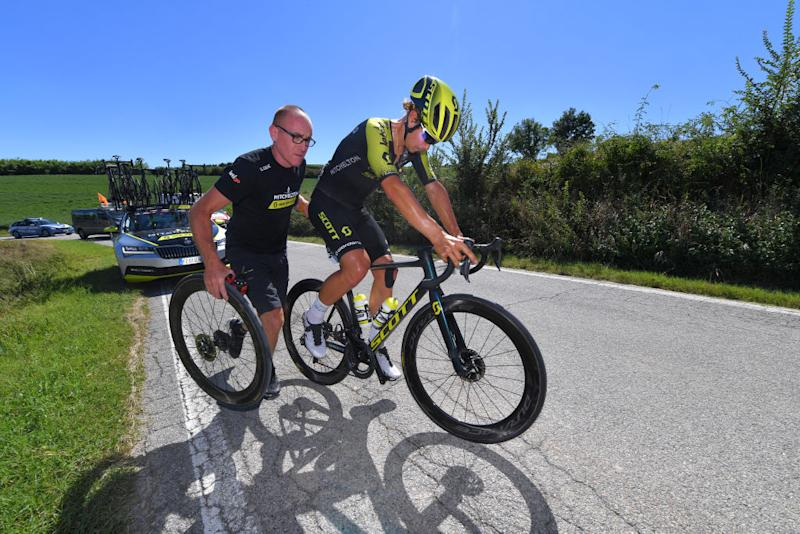 TURIN ITALY AUGUST 05 Alexander Konychev of Italy and Team Mitchelton Scott Mechanical Problem during the 101st Milano Torino 2020 a 198km race from Mesero to Stupinigi Turin MilanoTorino on August 05 2020 in Stupinigi Turin Italy Photo by Tim de WaeleGetty Images