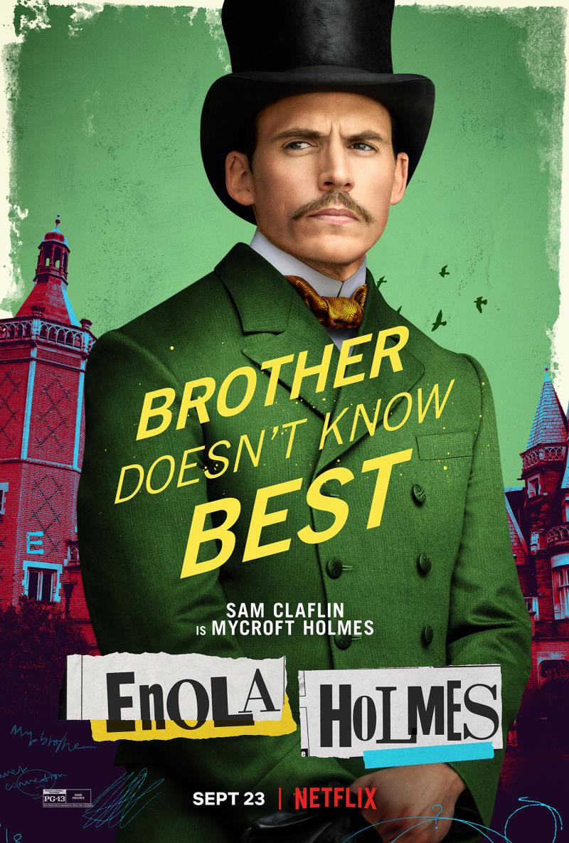 An Enola Holmes character poster for Sam Claflin's Mycroft Holmes. (Netflix)
